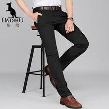 DAISHU летние новые высококачественные хлопковые мужские брюки средняя талия прямые Весенние длинные мужские классические деловые Брюки Полная длина 28-44