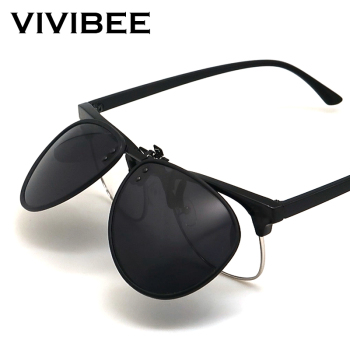 VIVIBEE 2020 New Flip up Clip on Sunglasses Polarized Men Driving Pilot Night Vision Lens Sun Glasses Anti-UVA UVB Goggles sunglasses driving night vision lens sun glasses male anti uva uvb for men women with case