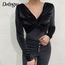 Darlingaga V Neck czarne welurowe Body damskie skrzyżowane długie rękawy Body Fashion jesienne zimowe Sheer Body kombinezon Body(China)