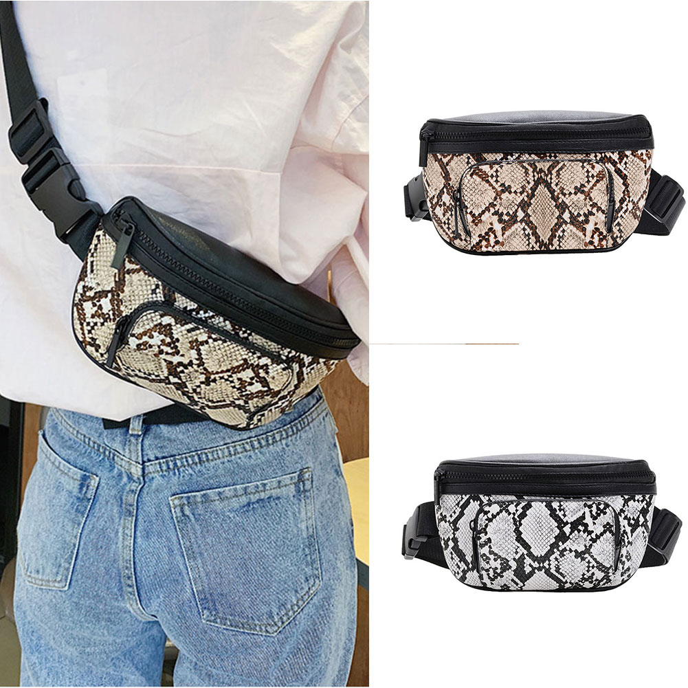Women Personalized Serpentine Print Waist Packs 2019 Fashion PU Leather Multifunction Waist Bags Cell Phone Pocket Female BS88