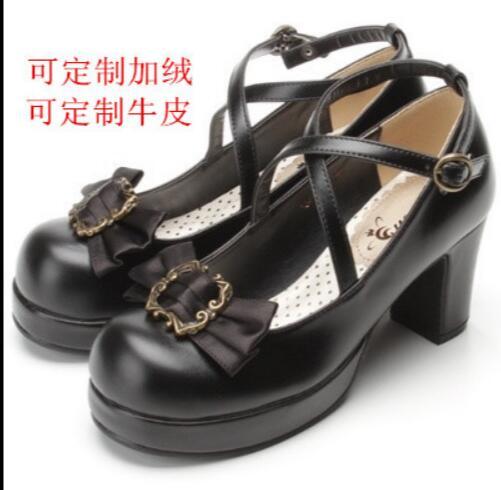 Japanese Retro Gothic High Heel PU Lolita Shoes Cosplay Costume Shoes Bowtie Pump