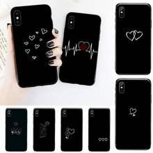 Telefon Fall für iPhone 12 11 mini pro XS MAX 8 7 6 6S Plus X 5S SE 2020 XR mangel an Einfache Linien Liebe Herz