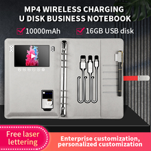 2021 Planner Wireless Charging Power Bank 10000mah Diary Notebook With Advertising MP4 Media Video Player