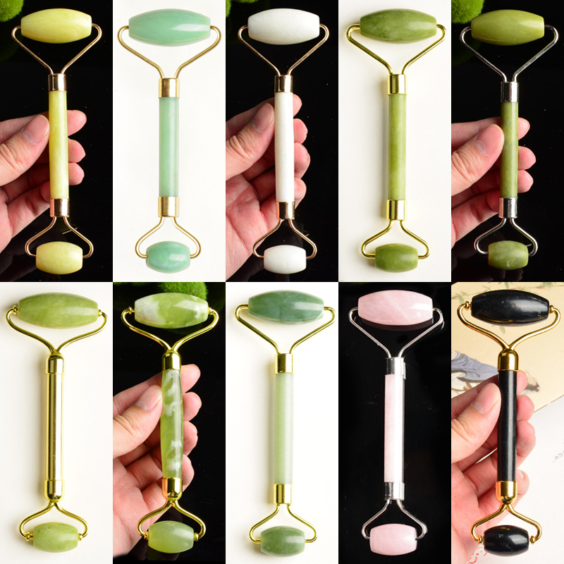 1Pc Facial Massage Roller Plate Double Heads Jade Stone Massager Eye Face Neck Thin Lift Relax Slimming Tools