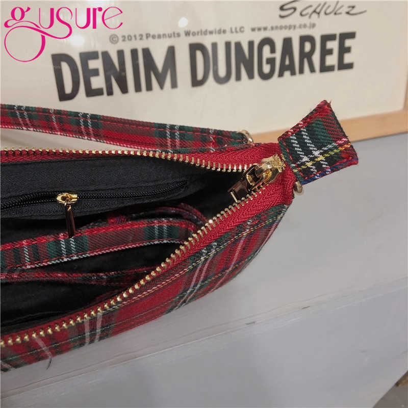 Gusure 2020ขายร้อนVintage Retroกระเป๋าสุภาพสตรีกระเป๋าภาษาฝรั่งเศสคำลายสก๊อตสีแดงกระเป๋าผู้หญิงElegant Bolsa Femininaกระเป๋า