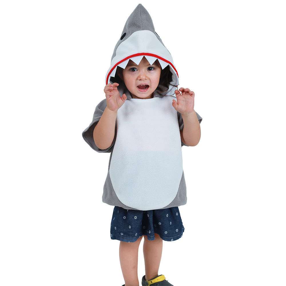 Fashion Kids Jumpsuit Cosplay Costume Shark Stage Clothing Fancy Dress Halloween Christmas Props Boy Girl