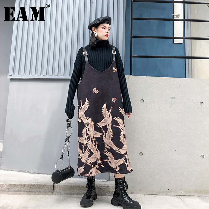 [EAM] Women Suede Pattern Printed Strapless Dress New Round Neck Sleeveless Loose Fit Fashion Tide Spring Autumn 2020 1K358