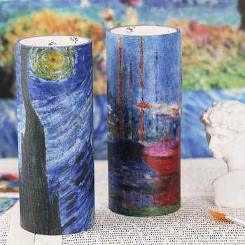 10cm Wide Beautiful Oil Painting Adhesive Masking Tape Art Van Goah Starry Night Monet Washi Tapes Journal Decoration E6106