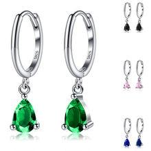 Silverhoo 925 prata esterlina brinco para as mulheres simplicidade zircônia feminino gota de água brincos multicolorido casamento jóias finas