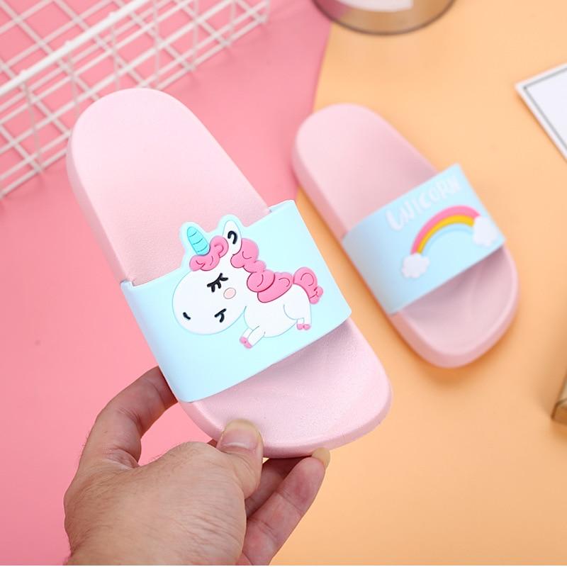 Summer Rainbow Unicorn Boys Girls Slippers 2020 Children Sandals Jelly Sandals Kids Slippers Girls Jelly Shoes Kids Flip Flops