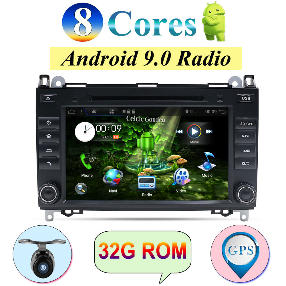 <font><b>2din</b></font> <font><b>Android</b></font> 9.0 Auto Radio Car DVD Multimedia for Mercedes Benz B200 A B Class W169 W245 Viano Vito W639 Sprinter W906 GPS DAB image