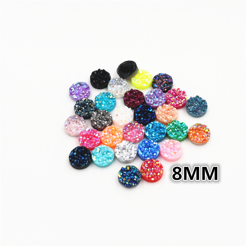 New Fashion 40pcs 8mm Mix AB Colors Natural Ore Style Flat Back Resin Cabochons For Bracelet Earrings Accessories