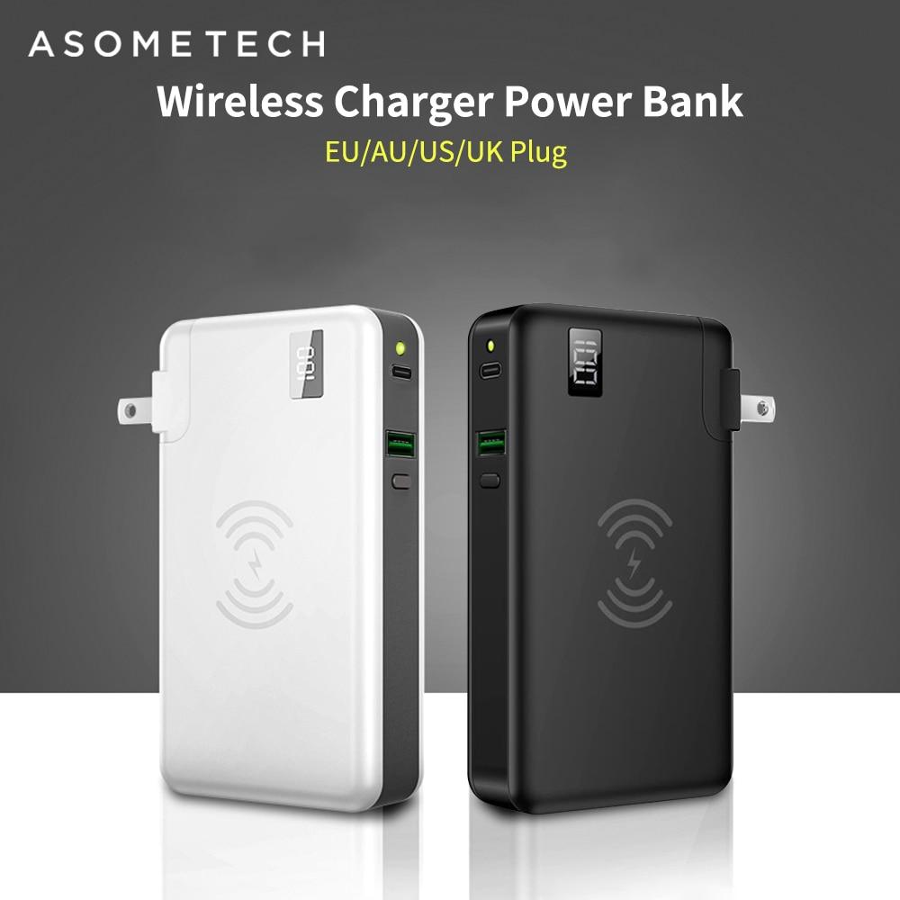10000mah 전원 은행 무선 충전기 qc3.0 아이폰 태블릿에 대 한 빠른 충전기 화웨이 3 1 18650 powerbank 유형 c usb pd chagrer-에서보조 배터리부터 전화기 & 통신 의