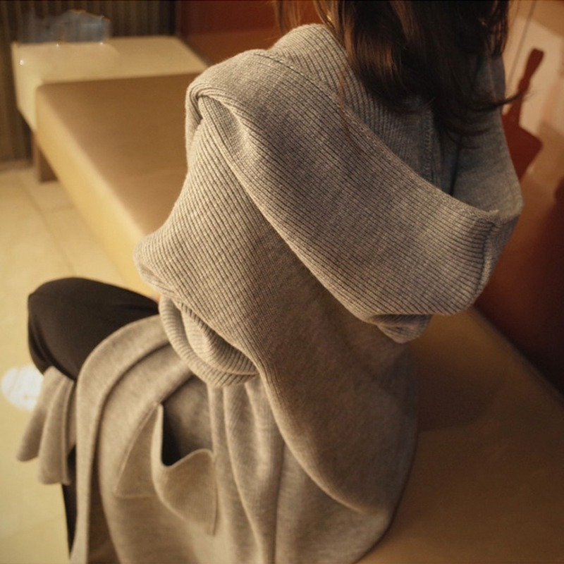 2019 Autumn Winter Sweater Long Cardigan Women Long Sleeve Knitted Hooded Cardigan Outwear Ladies Pocket Loose Sweaters Knitwear