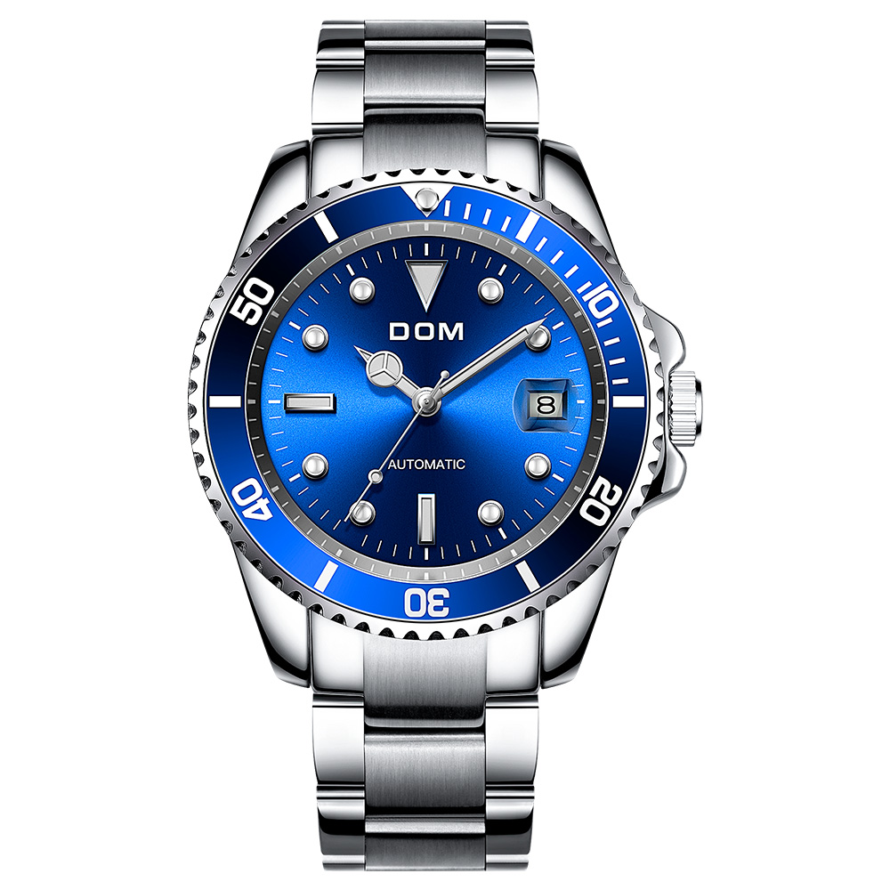 DOM Luxury Mechanical Wristwatch Men Sport Watches Relogio Masculino Stainless Steel Band Blue Clock Male Waterproof M-1310