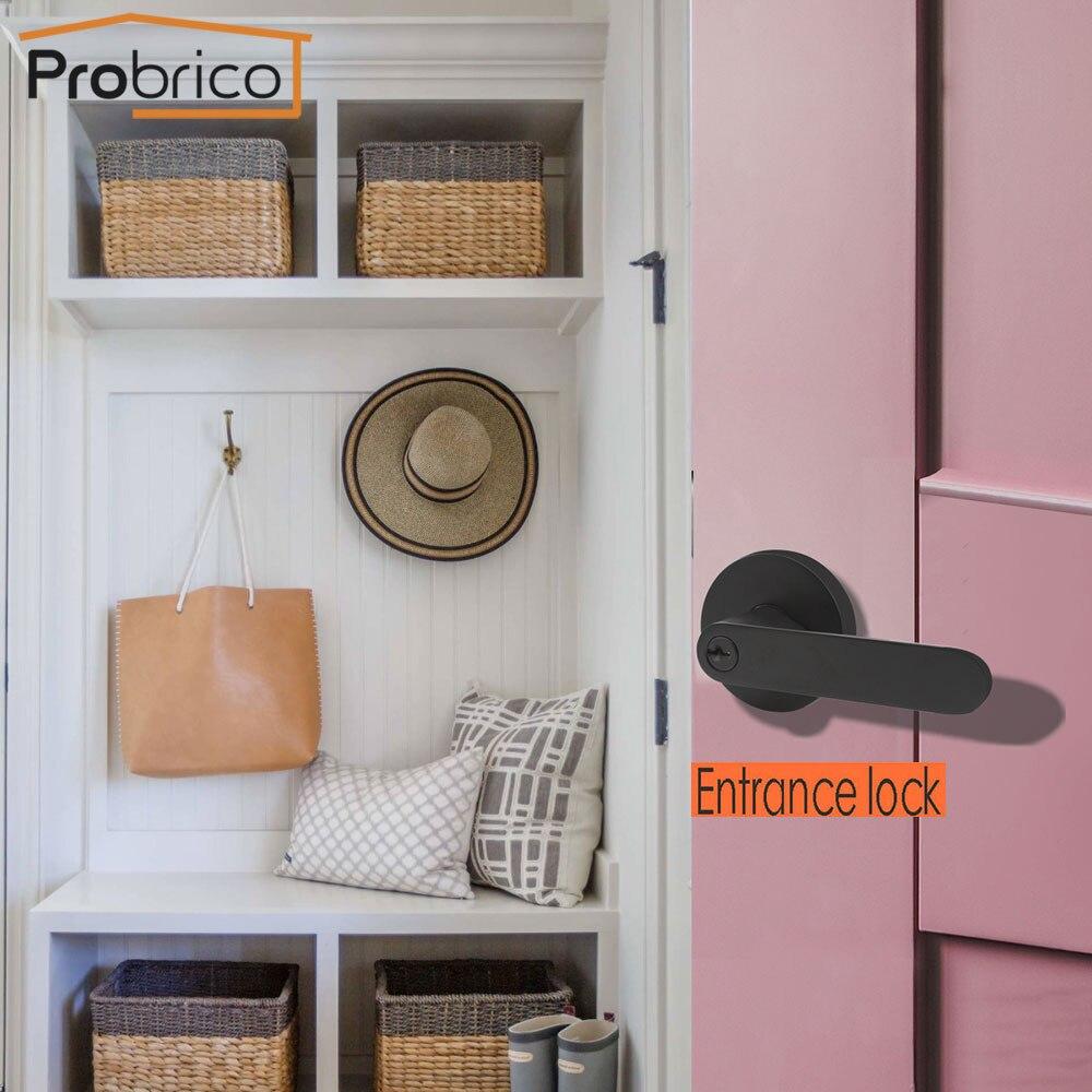 Probrico Black door handles for interior wooden doors Front back door lever lock cylinder latch Bedroom bathroom door locks DL03