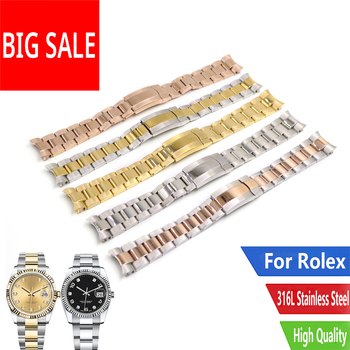 CARLYWET 20 21mm Sliver Gold 316L Stainless Steel Solid Curved End Screw Links Replacement Watch Band Strap Bracelet For Rolex 19 20 22mm gold two tone hollow curved end solid screw links 316l steel replacement watch band strap old style jubilee bracelet
