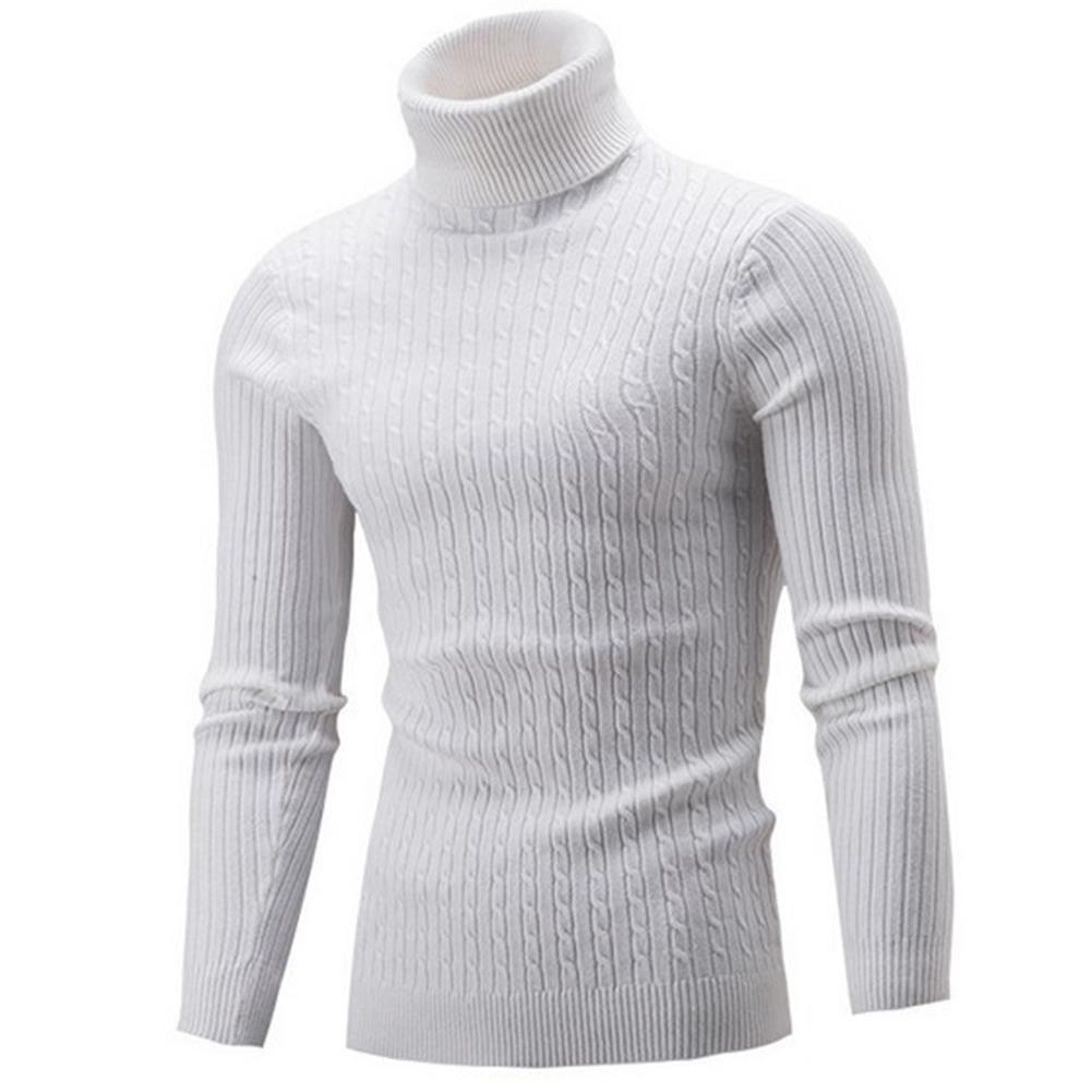 Winter Men's Turtleneck Sweaters Thick Warm High Neck Sweater Mens Sweaters Solid Color Slims Pullover Men Knitwear Male Sweater 3