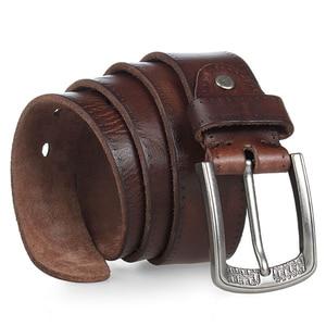 Image 2 - MEDYLA Brand Natural Leather Belt Men Retro Hard Metal Buckle Soft Italian Leather Mens Jeans Belt Mens Accessories Gift
