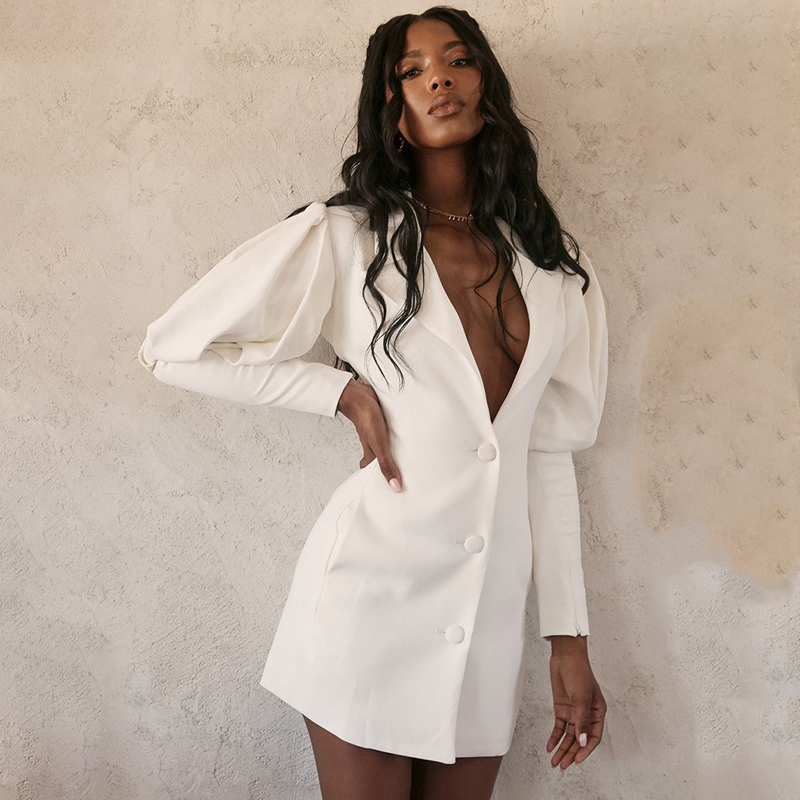 Casual Deep V Neck Long Blazer Autumn Notched Puff Sleeve Single Breasted Female Blazers Fashion Buttons Up Slim White Coats