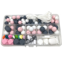 104Pcs Food Grade Baby Teethers Unfinished Chewable Silicone Round Beads Jewelry Teether Necklace Accessories Baby Teething Toys let s make baby teether unfinished silicone hex beads set chewable food grade wooden beads diy teething necklace made beads