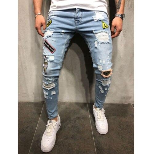 Mens Stretchy Jeans Ripped Skinny Jeans Destroyed Frayed Slim Fit Denim Pants Slim Fit Flex Denim Trousers Pants Destroy