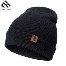 Бренд Evrfelan, модные зимние вязаные женские шапочки, мужские шапки, одноцветные зимние шапочки, головные уборы, аксессуары