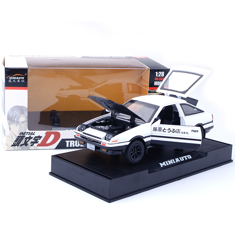 Zhenwei TRUENO AE 86 Alloy Diecast Car Model Pull Back Toy With Light Sound For Kid Toys Gifts Door Open Car Toy Box