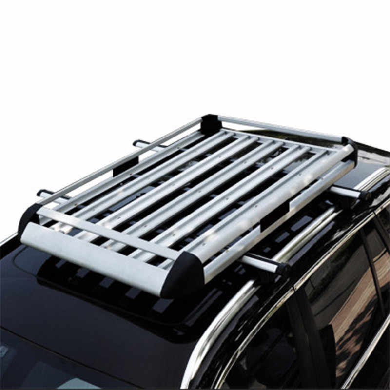 160x100 cm silvery universal double deck roof rack cargo basket for suv cargo