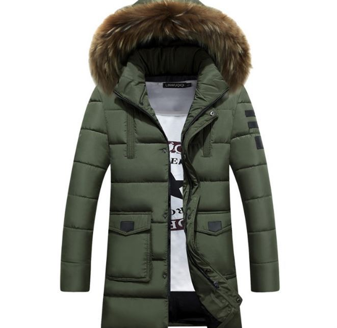 MEN'S Cotton-padded Coat Winter Youth Mid-length Korean-style Trend Slim Fit Handsome Cotton Coat Thick Cotton Coat