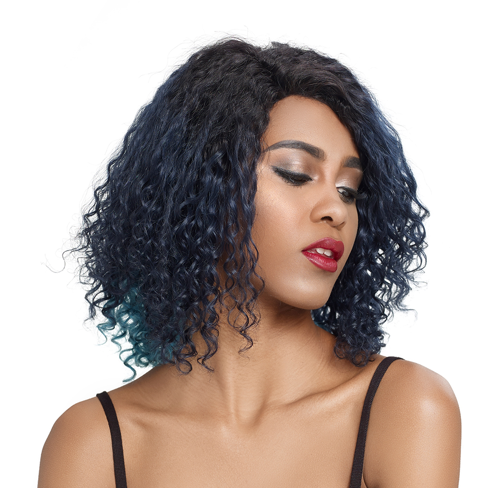 Trueme Water Wave Short Bob Human Hair L Part Lace Wigs For Black Women Remy Brazilian Curly Lace Front Wigs Ombre Blue Wig