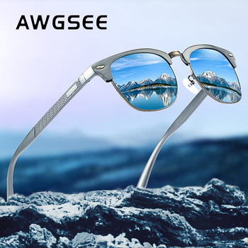 Mężczyźni Vintage okulary przeciwsłoneczne aluminiowe spolaryzowane okulary z powłoką lustrzaną wysokiej jakości pełna ramka okulary jazdy męskie Oculos de sol tanie i dobre opinie AWGSEE CN (pochodzenie) SQUARE Dla osób dorosłych Z aluminium polaryzacyjne MIRROR Przeciwodblaskowe UV400 48mm Z poliwęglanu