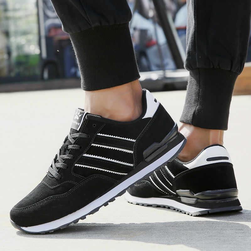 Erkekler rahat ayakkabılar hafif süet deri Sneakers klasik koşu ayakkabıları erkekler konfor açık nefes Flats koşu spor ayakkabılar