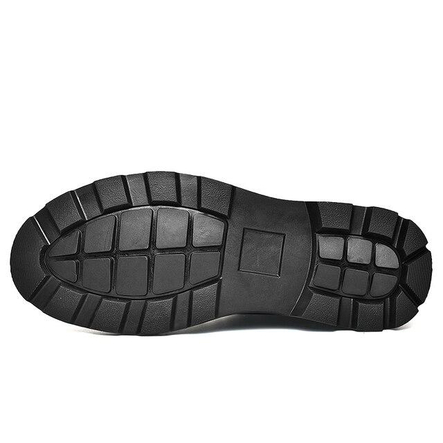 Black Warm Winter Men Boots Genuine Leather Ankle Boots Men Winter Work Shoes Men Military Fur Snow Boots for Men Botas JKPUDUN 3