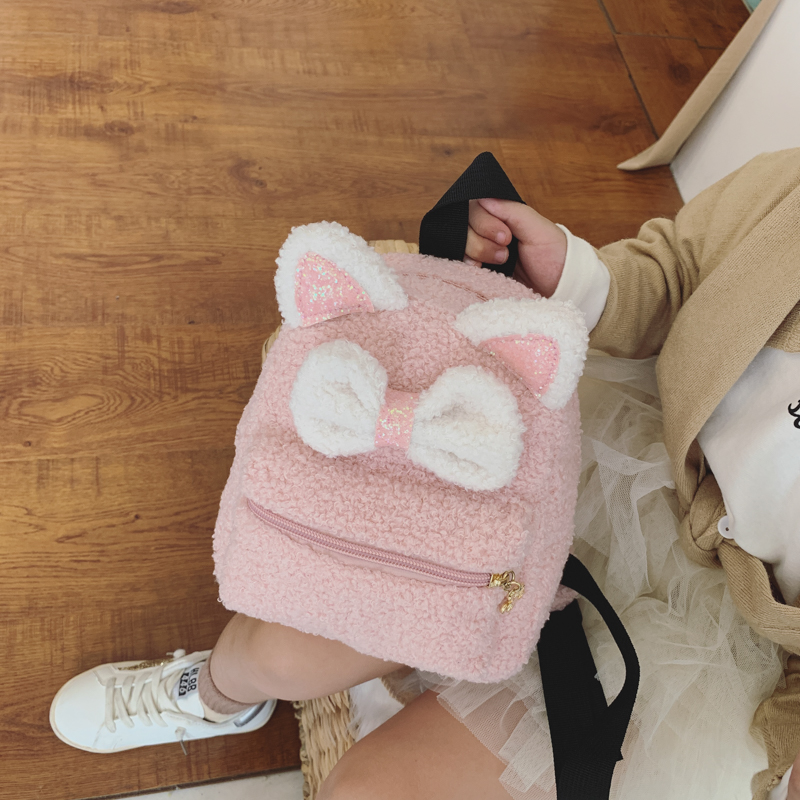 2020 New Korean Edition Children Plush Backpack 1-2T Kids Fluffy Cute Cartoon Animal School Bag Kindergarten Bag Girls Travel