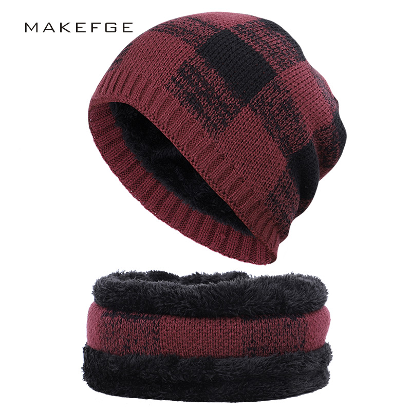 2019 Fashion Plaid Men's Cotton Hat Scarf Set Winter Plus Velvet Men And Women Hat Collar 2 Sets Of Outdoor Ski Warm Multi-piece