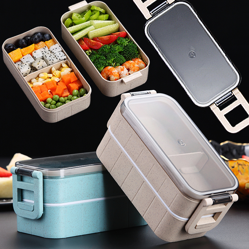 Heated Food Container For Food Bento Box Lunch Box Double-layer Compartments Lunchbox Microwave Container Box Japanese Thermal 1
