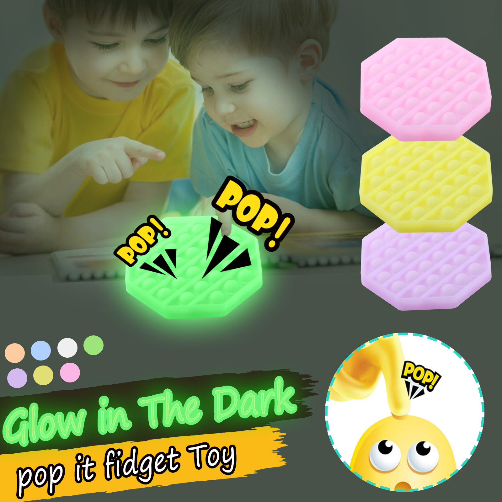 It-Toys Bubble-It-Fidget Popit Luminous-Pop Silicone Toy Stress-Game Figet Kids for Autism