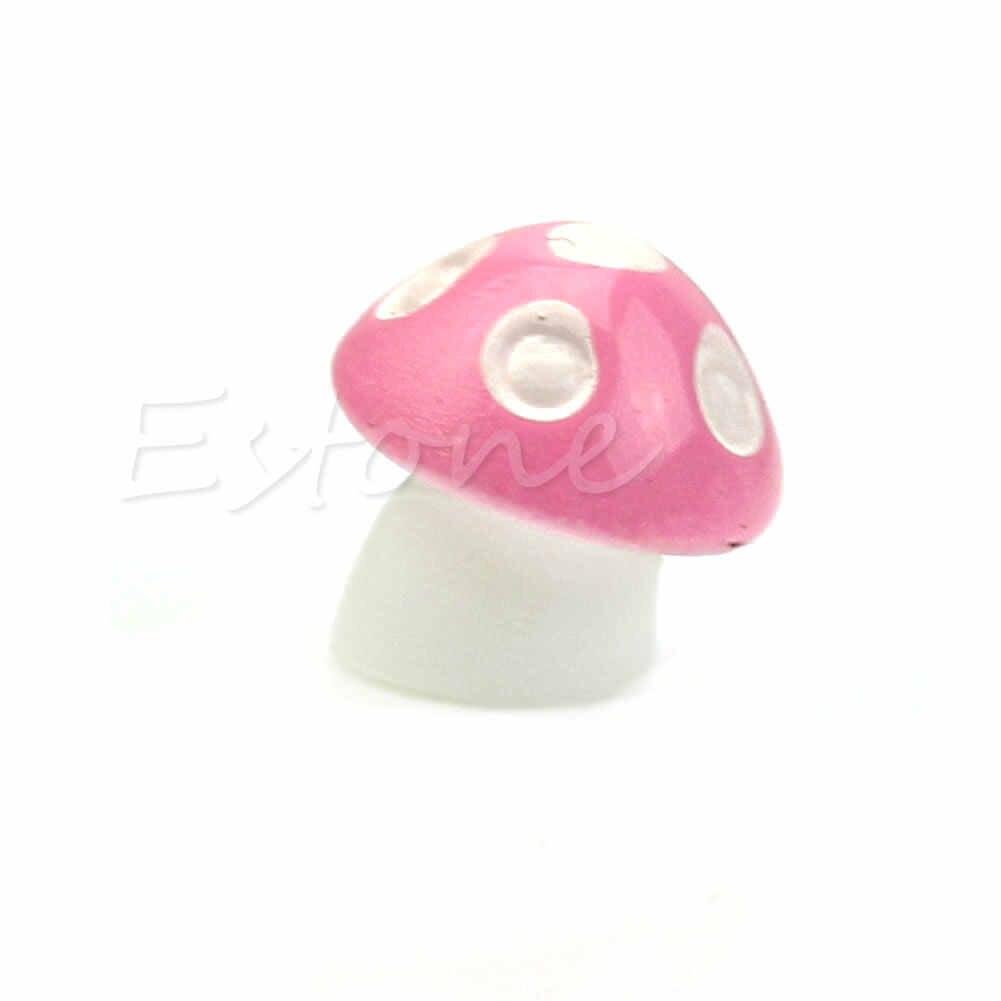 1X Warna-warni Jamur Payung Miniatur Patung Peri Taman Terarium Dekorasi 72XF