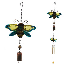купить 1* Creative Wind Chime Bee Iron Art Craft Colorful Glass Metal Hanging Gardon Hotel Shop Outdoor Decorations Iron Art дешево