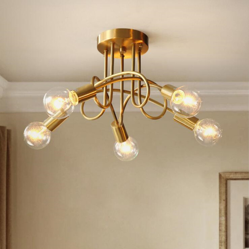 American Retro Copper Ceiling Lamp Concise Art Edison Bulbs Bedroom Living Room LED  Lighting Fixtures Free Shipping|Ceiling Lights| |  - title=