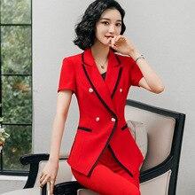 New 2020 Black Red Female Elegant Women's Suit Set Blazer an