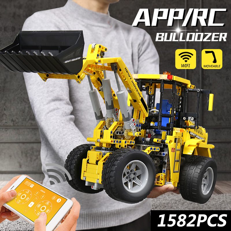 MOULD KING 13122 APP RC High-Tech Car Toys The Motorized 20006 Bulldozer Model MOC-0836 Building Block