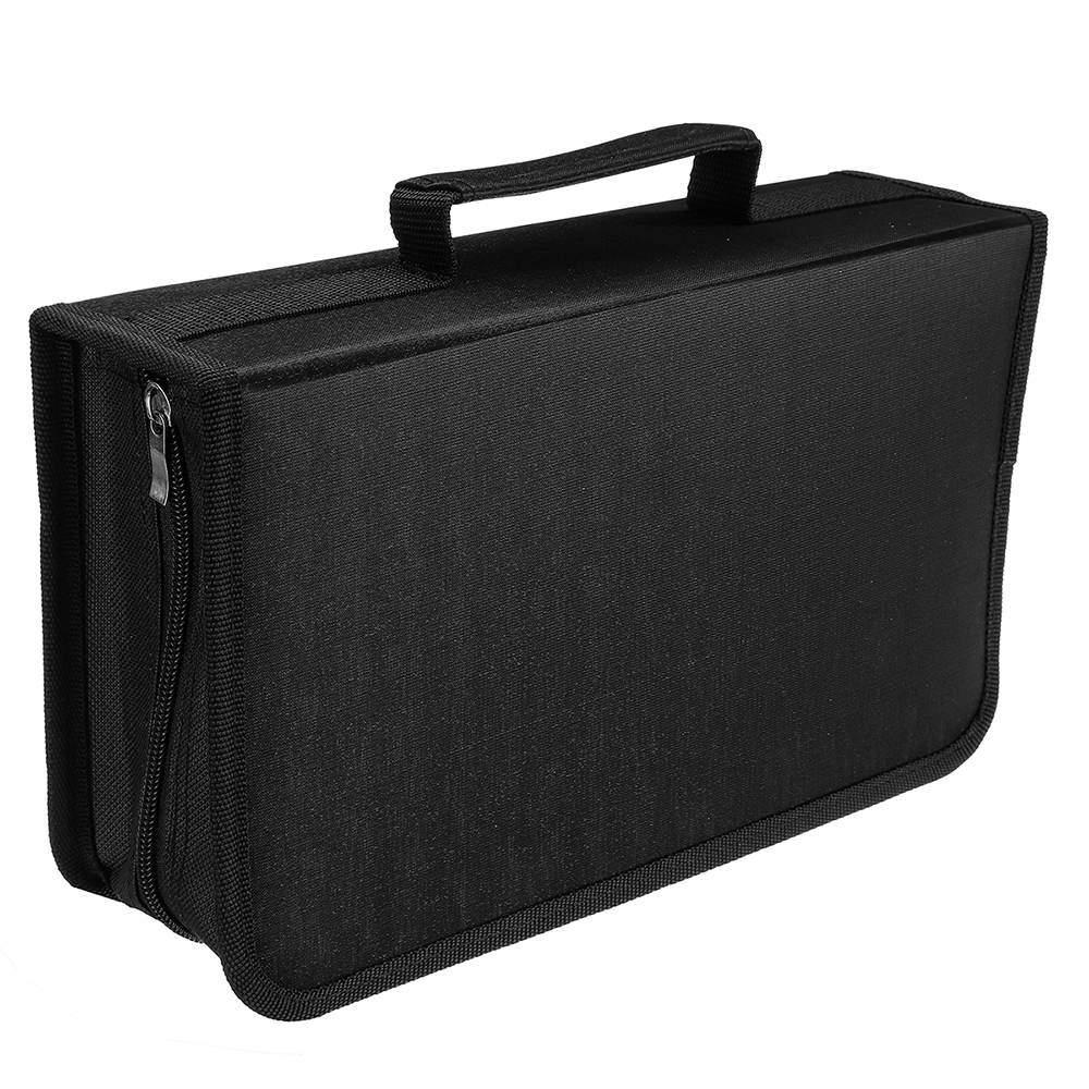 128 CDs Car Disc Storage Bag CD Wallet DVD Large Capacity Travel Box Zipper Space Saving Holder Home Black