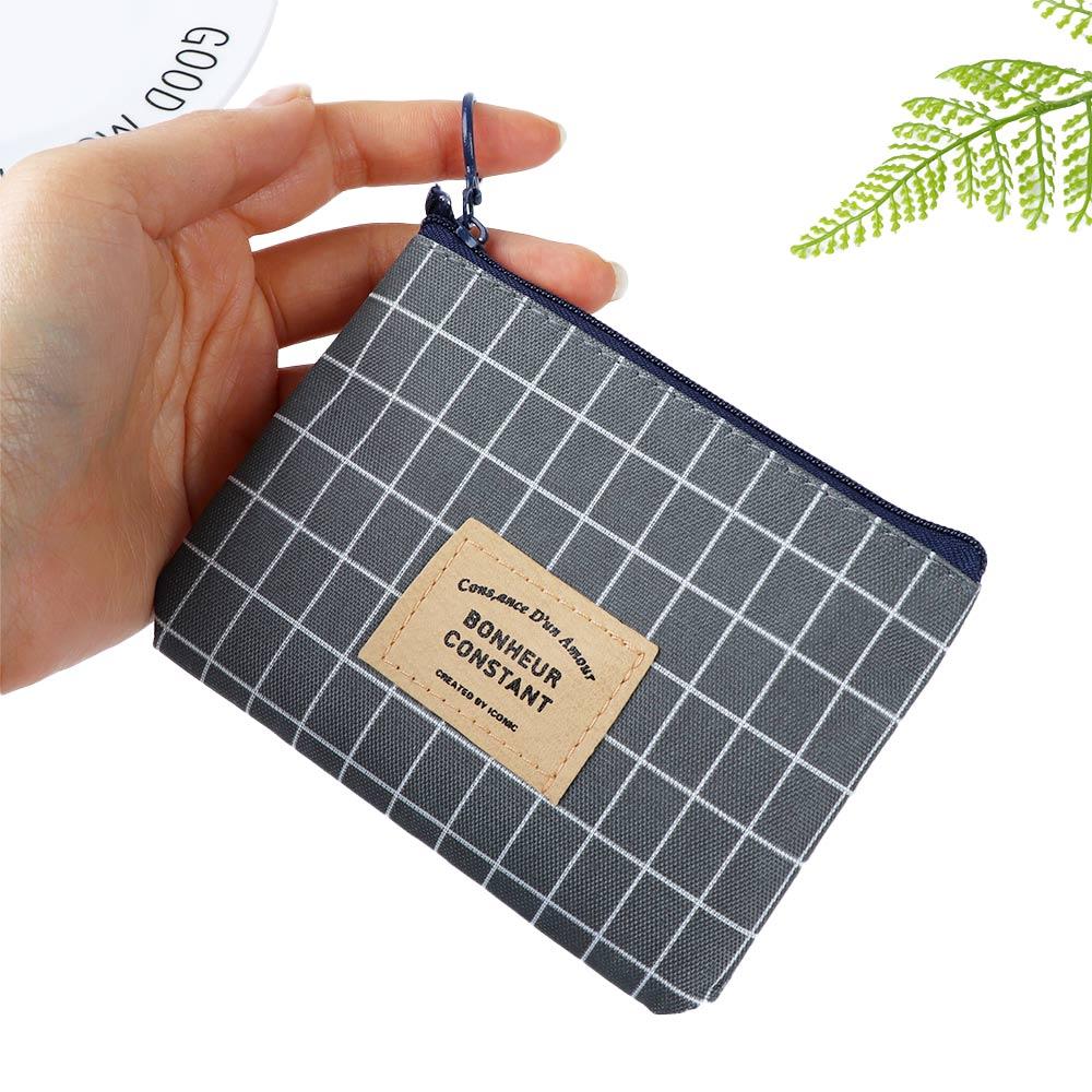 1Pcs Unisex Canvas Purse Card Key Mini Purse Pouch Canvas Bag Small Zipper Coin Purse Card Holder Wallet Four Colors Available