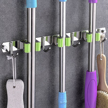 Mop Holder Storage Organizer bathroom hooks Wall Mount 304 Stainless Steel Nail-free glue
