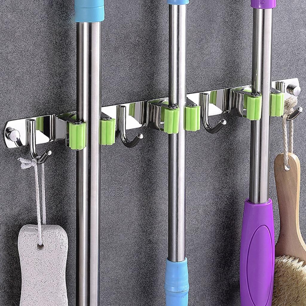 Mop Holder Storage Organizer bathroom hooks Wall Mount 304 Stainless Steel Nail-free glue