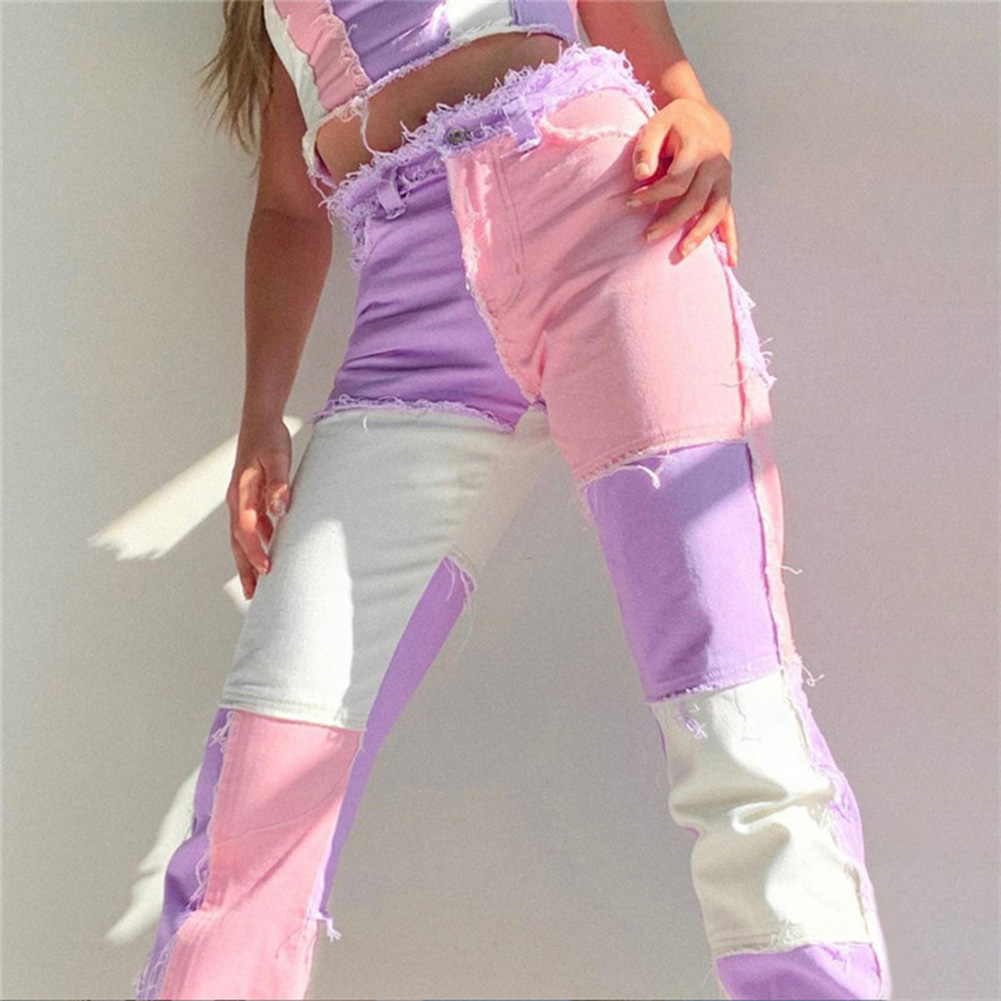 Patchwork Skinny High Waist Y2k Jeans For Women Harajuku Sportswear Cargo Pants Joggers Women 90s Skater Jeans(China)