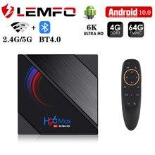Lemfo smart tv box android 10 4k 6k 1920*1080p suporte projetor hdr10 bt4.0 2.4g/5g wifi android caixa de tv para vídeo em casa