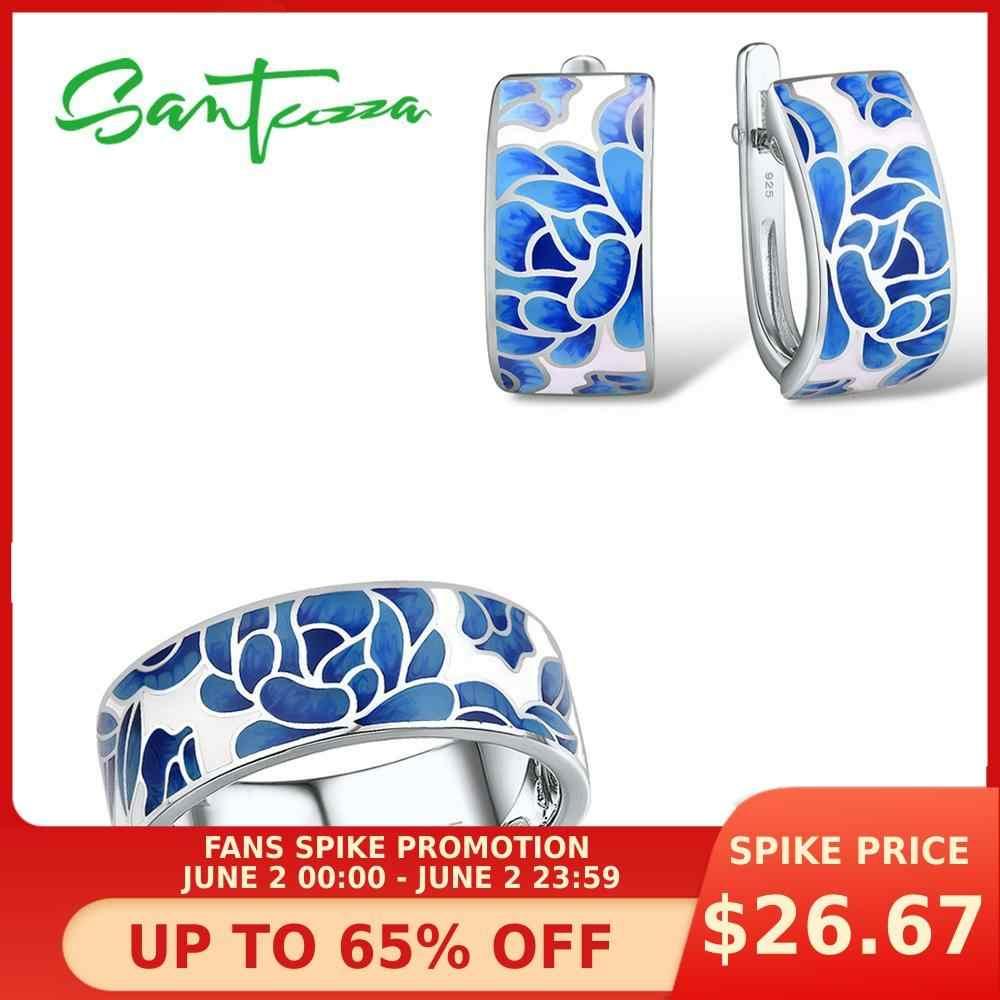 SANTUZZA כסף תכשיטי סט לנשים טהור 925 סטרלינג כסף כחול פרח אמייל עגילי טבעת סט תכשיטים טרנדי בעבודת יד